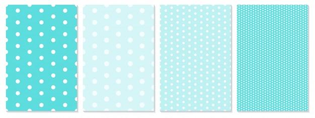 Conjunto de patrón de puntos. fondo de bebé. color azul. ilustración. patrón de lunares.