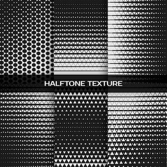 Conjunto de patrón de triángulo de semitono de impresión gráfica en blanco y negro geométrico abstracto. ilustración