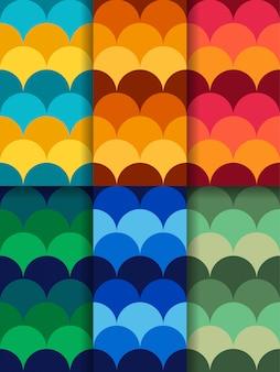 Un conjunto de patrones abstractos sin costura de círculos de diferentes colores.