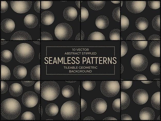 Conjunto de patrones abstractos sin costura esferas punteadas