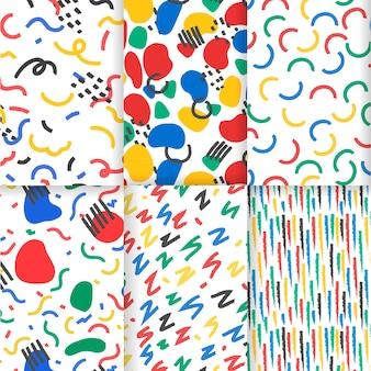 Conjunto de patrones abstractos dibujados a mano colorido