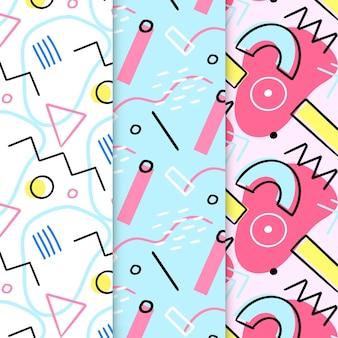Conjunto de patrones abstractos dibujados a mano de memphis