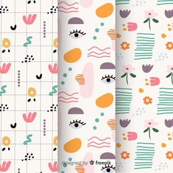 Conjunto de patrones abstractos dibujados a mano