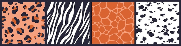 Conjunto de patrones abstractos sin fisuras con textura de piel de animal. leopardo, jirafa, cebra, estampado de piel de dálmata.