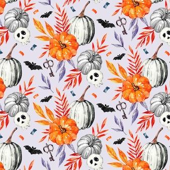 Conjunto de patrones de acuarela de halloween