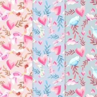 Conjunto de patrones de acuarela de san valentín