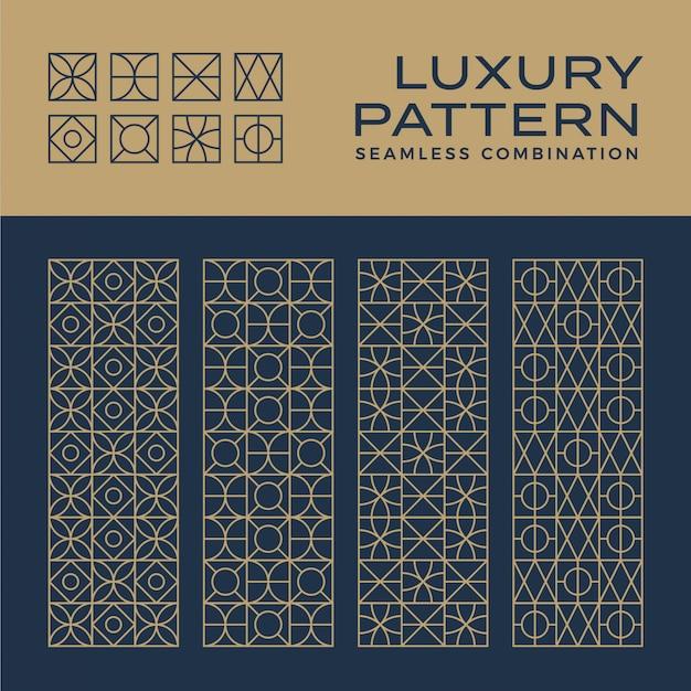 Conjunto de patrones y adornos de lujo sin costuras