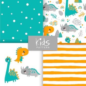 Conjunto de patrones de animales dinosaurios sin fisuras. lindo patrón infantil sin costuras en estilo de dibujos animados.