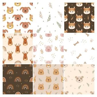 Conjunto de patrones de animales en estilo boho.
