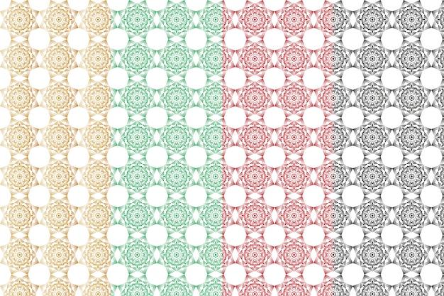 Conjunto de patrones de arabesque mandala inconsútil geométrico abstracto creativo