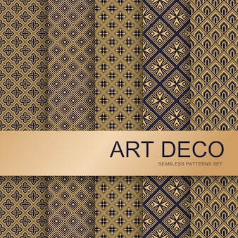Conjunto de patrones art deco. vintage artes geométricas y deco línea adornada. geometrics gold minimal ornaments seamless gatsby elegante resumen lujo patrones vector set