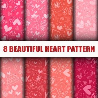 Conjunto de patrones de colección de corazón transparente.