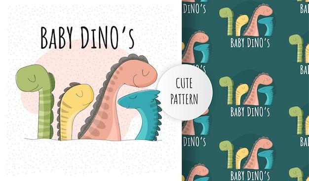 Conjunto de patrones de colección de dino de bebés lindos planos