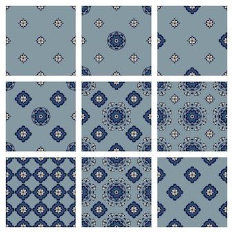 El conjunto de patrones de colección de diseño textil para cubiertas de telas y alfombras. adornos de lujo clásicos para el diseño de superficies textiles interiores