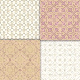 Conjunto de patrones de colores claros estilo romántico