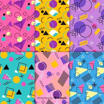 Conjunto de patrones coloridos de memphis
