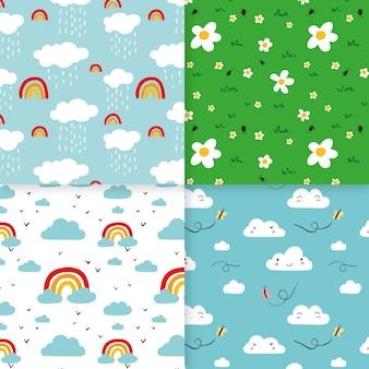 Conjunto de patrones coloridos de primavera