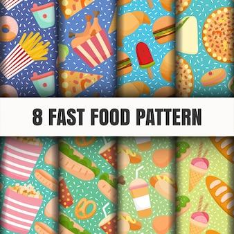 Conjunto de patrones de comida rápida sin costuras.