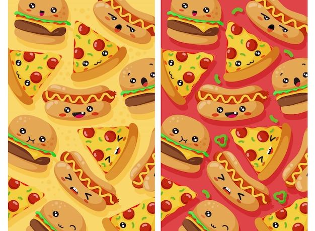 Conjunto de patrones de comida rápida
