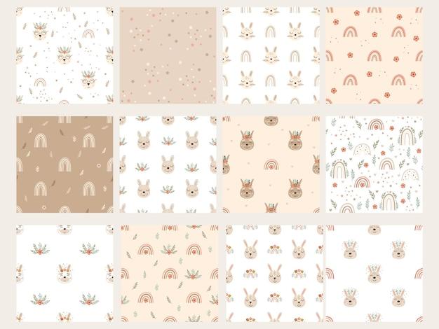 Conjunto de patrones con conejitos, arco iris y elementos florales. ilustración vectorial.