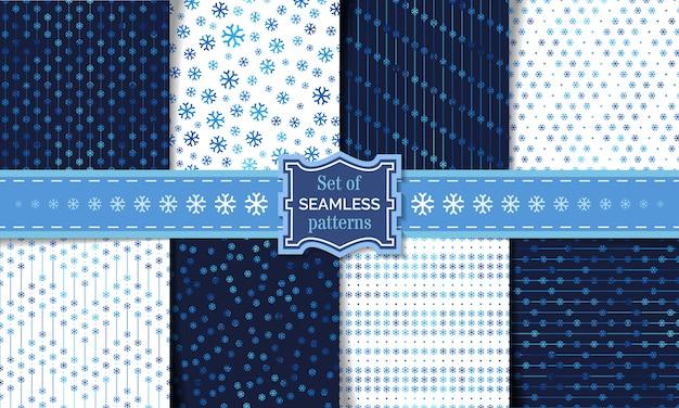 Conjunto de patrones de copo de nieve sin fisuras. plantillas de invierno claro y oscuro. fondos ilimitados.