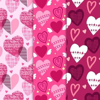 Conjunto de patrones de corazón dibujado