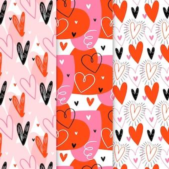 Conjunto de patrones de corazón dibujados