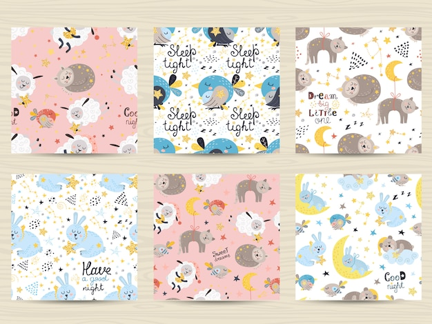 Conjunto de patrones sin costuras para bebés.