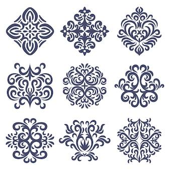 Conjunto de patrones de damasco oriental, conjunto de emblema de damasco, antiguo estilo de damasco