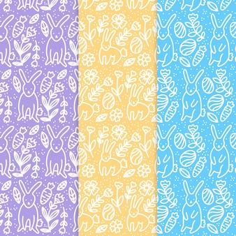Conjunto de patrones de día de pascua dibujados a mano