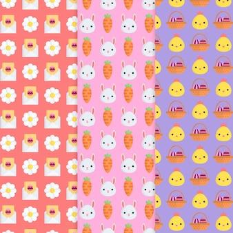Conjunto de patrones de día de pascua de diseño plano