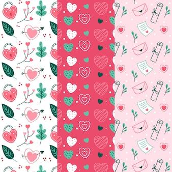 Conjunto de patrones de día de san valentín dibujados a mano