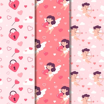 Conjunto de patrones de día de san valentín de diseño plano