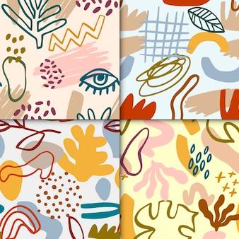 Conjunto de patrones dibujados abstractos