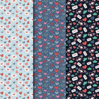 Conjunto de patrones dibujados del día de san valentín