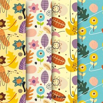Conjunto de patrones dibujados a mano abstracta
