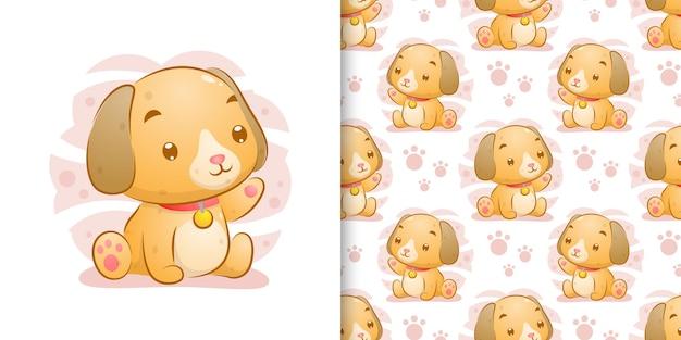 El conjunto de patrones dibujados a mano del perrito con las orejas largas está sentado de ilustración