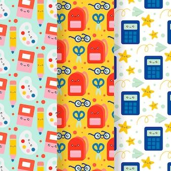 Conjunto de patrones dibujados a mano de regreso a la escuela