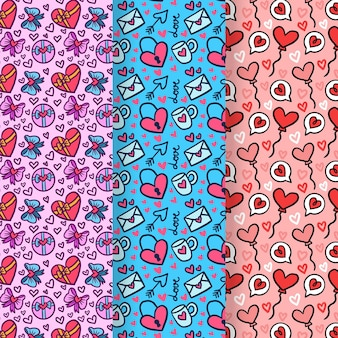 Conjunto de patrones dibujados a mano de san valentín