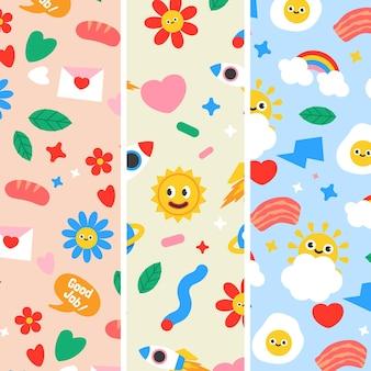 Conjunto de patrones de dibujos animados de moda dibujados a mano