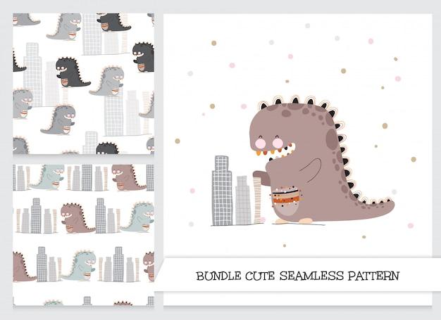 Conjunto de patrones de dinosaurios planos de dibujos animados lindo de colección