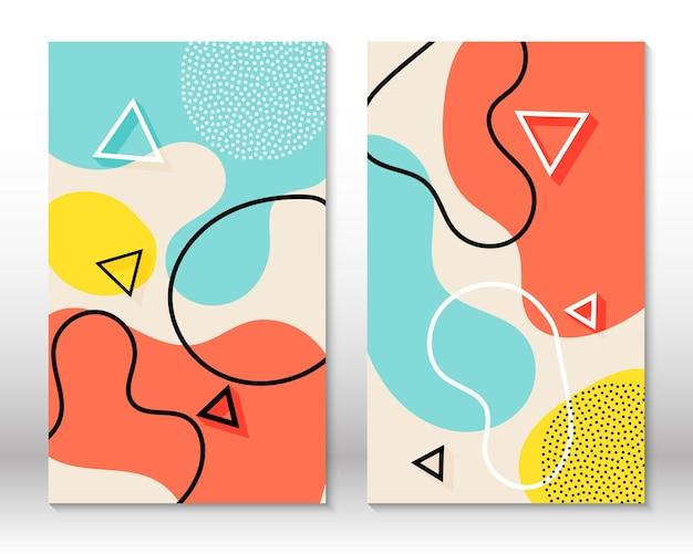 Conjunto de patrones divertidos de doodle. estilo hipster 80s-90s. elementos de memphis. coral fluido, azul, colores amarillos.