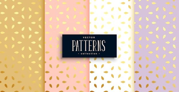 Conjunto de patrones dorados en color pastel