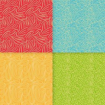 Conjunto de patrones elegantes líneas redondeadas