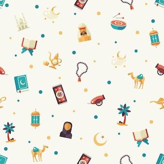 Conjunto de patrones enlosables sin fisuras de diseño plano moderno con iconos de la fiesta islámica, cultura. musulmán masculino, femenino, camello, cañón, mezquita, rosarios, lámpara, tambor
