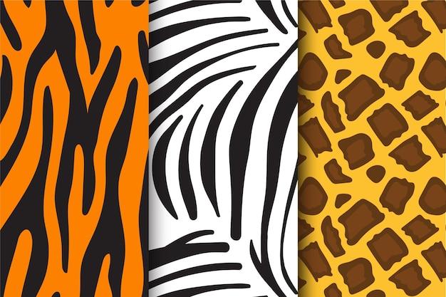 Conjunto de patrones de estampado animal moderno