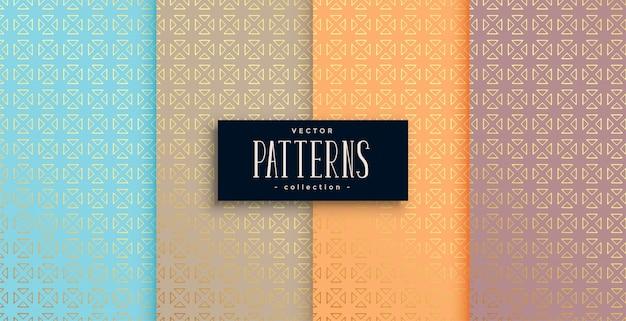Conjunto de patrones de estilo étnico artístico de cuatro