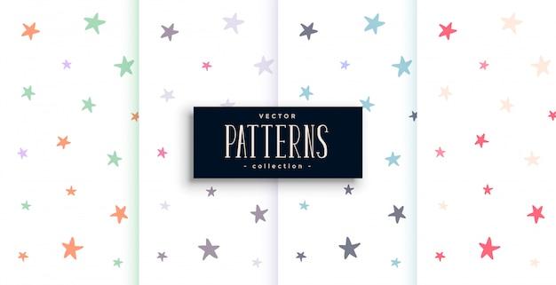 Conjunto de patrones de estrellas coloridas