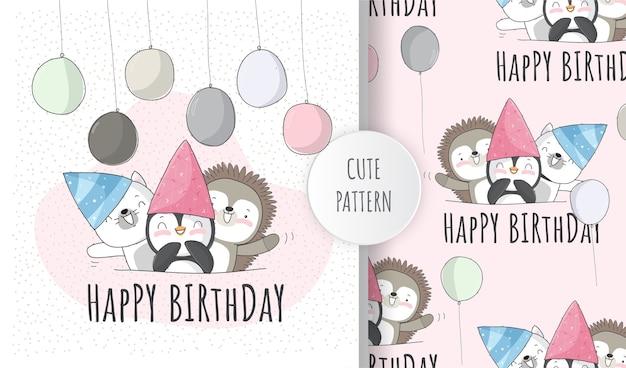 Conjunto de patrones de fiesta de cumpleaños de lindo gatito animal