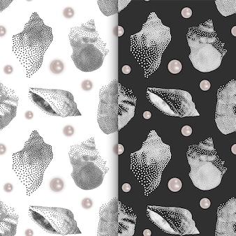 Conjunto de patrones sin fin sin fisuras con conchas y perlas.